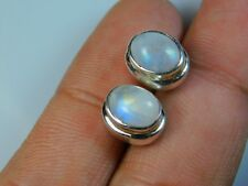 Amazing 925 Solid Sterling Silver Stud Earrings With Natural Rainbow Moonstone