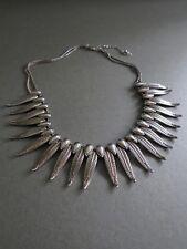 Vintage Silver Metal Necklace with Leaf Detail