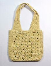 Split JOPLIN Natural Beige Wicker Color Beads Inside Zip Pocket Lined Bag Purse