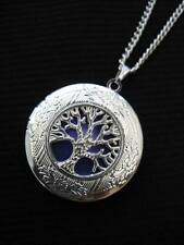 Tree of Life LOCKET Necklace Pendant Gothic Purple Silver Vintage Fantasy Fae