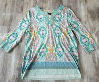 Talbots Women's  Petite Large Bandana Print 3/4 Sleeve Notch Neck Top Shirt