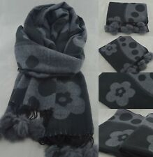 Women Ladies Winter Faux Fur Pom Poms Big Scarf Warm Shawl Wraps Long Soft Grey