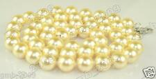 """8mm Natural Yellow South Sea Shell Pearl Round Gemstone Necklace 18"""" Long AAA"""