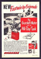 "1950 Evinrude Fleetwin Outboard Motor photo ""The Gearshift Motor"" print ad"