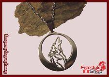 ~♥~Heulender Wolf Howling Werwolf Hund Edelstahl Halskette Necklace Rudel~♥~