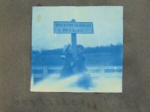 ANTIQUE CYANOTYPE PHOTOGRAPH ALBUM - WHEATON'S COLLEGE - FEMALE SEMINARY MASS.