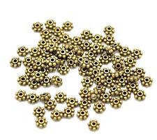 100 perles intercalaire en métal - Diamètre 4 mm - Couleur bronze