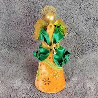Vintage MCM Beaded Velvet Angel Figurine Christmas Decor Orange Green
