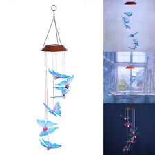 Solar Power LED Color Change Butterfly Wind Chimes Home Garden Decor Light Lamp