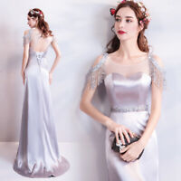 New Evening Formal Party Ball Gown Prom Bridesmaid Bead Tassels Dress TSJY9688