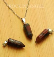 Natural Bloodstone Pendulum Point Pendant Necklace, Reiki Healing Ladies Gift