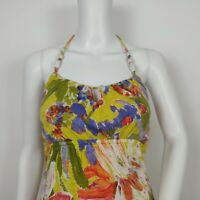 Tommy Bahama Halter Maxi Dress Size XXS Beads Tropical Floral Resort Beach Wear