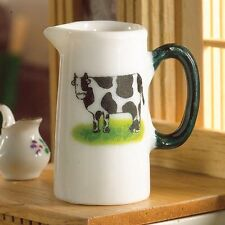 Farm Fresh Milk Jug , Dollhouse Miniature 1:12 Scale Cow Motif Kitchen & Dining