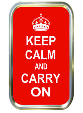 RED KEEP CALM AND CARRY ON 1oz GOLD TOBACCO TIN,PILL TIN,BACCY TIN, POCKET TIN