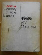 Honda Warranty Flat Rate Manual Motorcycle Atv 1986