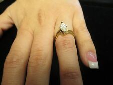 14kt Yellow Gold DIAMOND MARQUISE WEDDING SET APPX .85ct-- Size 6
