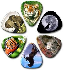 6 MIXED ANIMALS ~ Guitar Picks - Plectrums ~Printed Both Sides