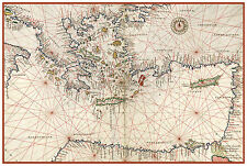 Eastern Mediterranean Sea Greece Turkey Nautical map Battista Agnese ca.1544