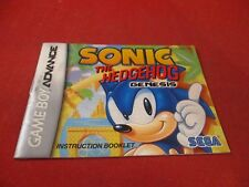 Sonic The Hedgehog 1 Nintendo Game Boy Advance Instruction Manual Only