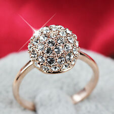 9K 9CT ROSE GOLD FIILED GENUINE Crystal BALL WOMEN GIRLS DRESS RING JEWELRY GIFT