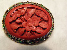 Vintage Chinese Carved Red Cinnabar with Red & Green Enamel pin  Silver Filigree