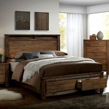 East King Size Storage Bed Headboard Top Shelf Oak Finish Wood Veener Furniture