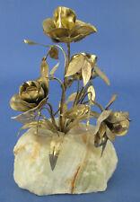 Decorative Figurine Metal Flowers Cream Quartz Base
