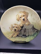 """Edwin M. Knowles China Co. """"Gone Fishing� 8.25 signed plate no 2102C"""