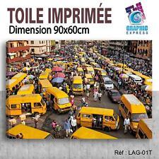 90x60cm - TOILE IMPRIMÉE- TABLEAU MODERNE DECORATION MURALE - LAGOS - LG-01T