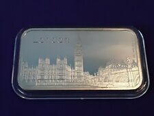 Houses of Parliament London,1 troy ounce fine silver 999 ingot.