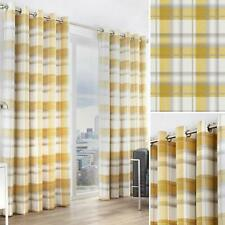 Ochre Eyelet Curtains Balmoral Tartan Check Lined Mustard Ring Top Curtain Pairs