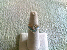 """Ladies """"V"""" Ring Sterling Silver w/Gold Filled Around Cubic Zirconia"""
