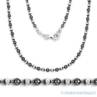 2.5mm Ball Bead Link Chain Italian Necklace .925 Sterling Silver & Black Rhodium