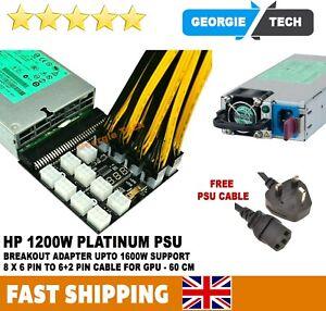 HP PSU GPU 6 PIN 1600W Mining Power DPS-1200FB 12 Ports Breakout Board complete