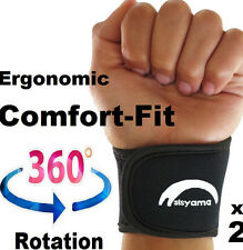 Small Petite Youth BLACK Neoprene Wrist Support Bands Wrap Yoga Tennis Golf