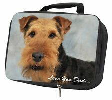 More details for welsh terrier dog 'love you dad' black insulated school lunch box ba, dad-136lbb