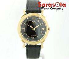 Vintage Hamilton Electric 500 14k Gold 35mm Black Dial Leather Dress Men's Watch