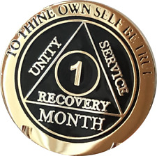 1 Month AA Medallion Elegant Black Gold & Silver Plated Sobriety Chip Coin