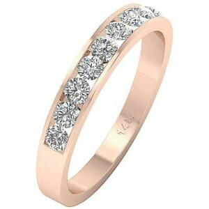 Anniversary Stackable Round Cut Diamond Ring I1 G 0.40Ct 14K Rose Gold Appraisal