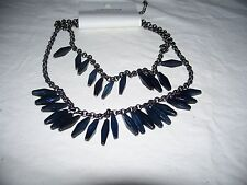 New Coldwater Creek Glass Navy Blue Stone Double Strand Chain Necklace
