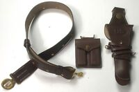 WWII & WWI M1912 LEATHER OFFICER .45 PISTOL BELT HOLSTER & AMMO POUCH