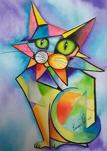 Original Picatso water colour by Australian artist Emerald Cat