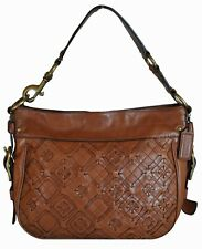 """AUTHENTIC COACH WOVEN """"EDITORIAL ZOE"""" ALL-LEATHER HOBO BAG"""