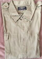 TEESAV - camicia da safari - verde militare - taglia 46 - 100% cotone