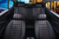Full Set Black Luxory Car Seat Covers Leatherette Universal Dog Pet Protector