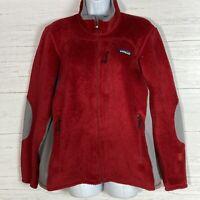 Patagonia Regulator Red Fleece Jacket Women's L Polartec Gray Accents