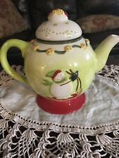 Debbie Mumm Holiday Christmas Teapot Sledding  Snowman NEW IN BOX