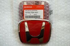 2Pcs Set 16 - 21 Honda Civic Sedan Coupe 4Dr Red Jdm H Front Rear Emblem Grille