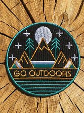 GO OUTDOORS Mountain Moon Hippie Adventure Iron On Patch Or Sew Embroidered