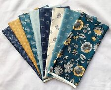 Makower and Andover Fabrics Fat 1/8 pack - 1 metre - blues and gold Patchwork